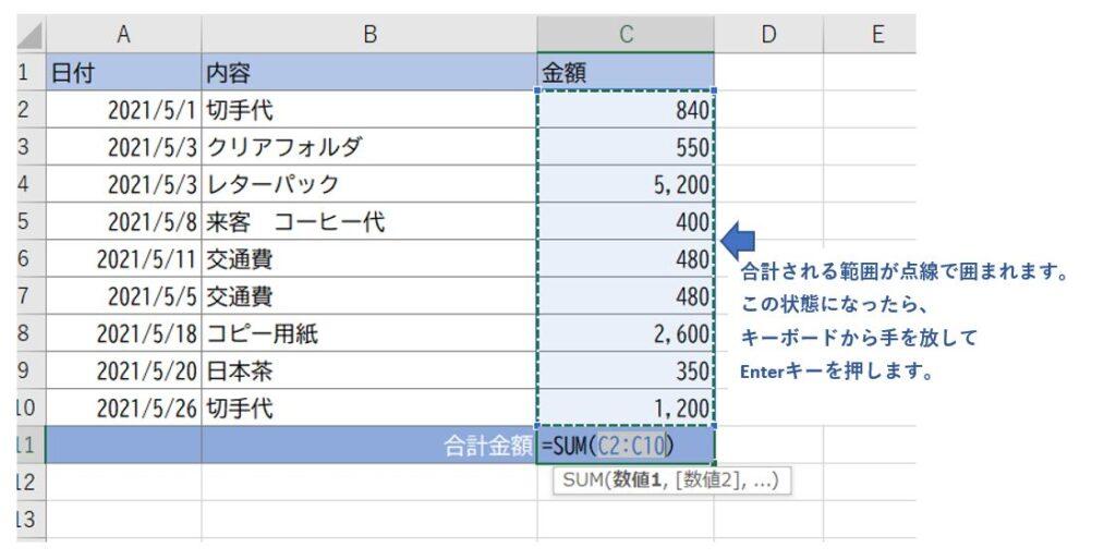 ExcelでSUM関数のショートカットキーを使った画像。