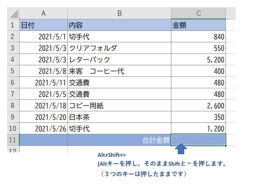 ExcelでSUM関数を入れる前の画像